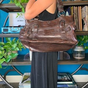 VINTAGE faux leather crocodile embossed handbag